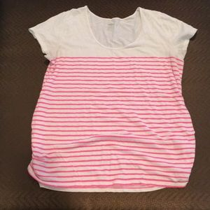 Maternity white with pink stripe too